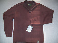 AIGLE Mens NWT $80 1/4 Zip Pullover Shirt Sweater, L, Large, Brown, HTF RARE NEW