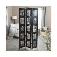 sturdy wooden photo frame room divider 3 panels holds 8x10 photos double sided