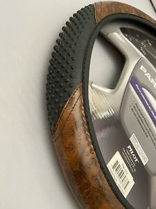 Wood Grain Steering Wheel Cover With Massage Grip (fit Chevrolet ) Black