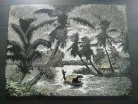 Grand panneau polychrome Vietnam années 50 Laque et coquille d'oeuf état parfait