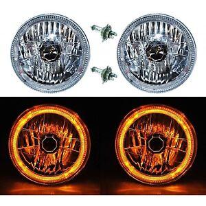 "7"" Halogen H4 12V Headlight Headlamp Amber LED Halo Angel Eyes Light Bulbs Pair"