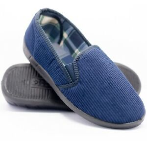 MENS GENTS HARD SOLE COMFY SLIP ON NAVY STRIPED WARM INDOOR SLIPPERS SHOES SIZE