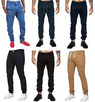 New Mens Enzo Jeans Cuffed Bottom Chinos Designer Stretch Jogger Pants All Waist