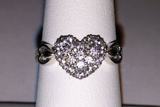 14k Pure Solid White Gold Heart Shaped Ring w Brilliant Clear Stones size 7