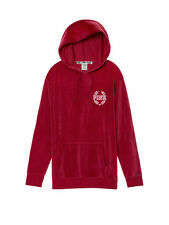 VICTORIAS SECRET PINK VELOUR CAMPUS PULLOVER HOODIE  RED LACQUER SIZE L NIP