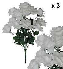 "White Microfiber Rose 20"" Bush (Pack of 3) Wedding Party Home Decor Silk Flower"