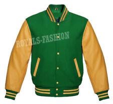 Varsity Letterman Baseball Green wool & Genuine Gold Leather Sleeves Jacket