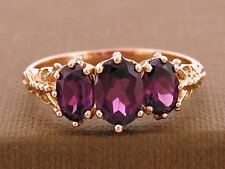 R225 Genuine Solid 9K Rose Gold NATURAL Rhodolite Garnet Trilogy Ring size 8