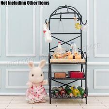 1:12 Miniature Metal Bakers Rack w Wood Butcher Block Shelving Kitchen Dollhouse