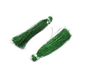 "25 Pair Green Colour Silk Thread Tassel Jewellery Making 2""inch Tassel"