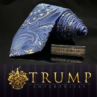 DONALD J. TRUMP~ SIGNATURE COLLECTION Blue Gold Paisley NECKTIE POWER TIE