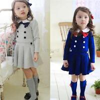 Toddler Chlid Girls Pleated Baby School Dress Long Sleeve Bow Lapel Dress J88