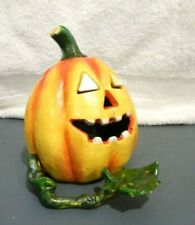 Mechanical Pumpkin Bank Cast Iron Leaf & Vine Feeds $ Into Mouth Eyes Pop Out