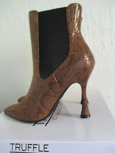 TRUFFLE Collection Tan Brown Faux Snake Skin Heeled Ankle Boots Size 7 40 BNIB