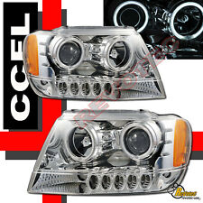 1999-2004 Jeep Grand Cherokee CCFL Halo LED Projector Headlights RH + LH