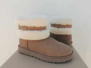 UGG CHESTNUT CLASSIC FLUFF MINI BELTED SUEDE SHEEPSKIN BOOTS, US 7/ EUR 38 ~NEW