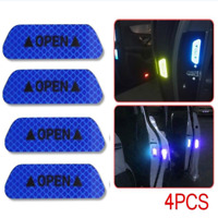 4PCS Super Blue Car Door Open Sticker Reflective Tape Safety Warning Decal Kit
