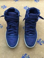 Gucci Baskets Homme Sneakers High Top en cuir bleu nylon GG Chaussures Uk 9 Us 10 43