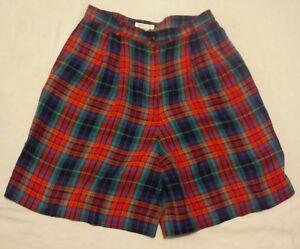 Vtg Talbots High Waisted Shorts Sz 12 Green Blue Pink Plaid Linen Blend Womens