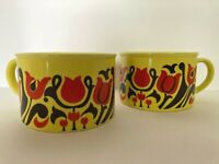 Vtg Ceramic Boho Yellow Soup Mugs Orange Tulips Brown Swirl Leaves Set of 2 14oz