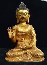 "15"" China Tibete Buddhism Brass Shakyamuni Amitabha Buddha Robe Tathagata Statue"