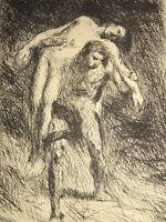 Alexandre FALGUIERE (1831-1900) GRAVURE ORIGINALE CAIN et ABEL HOMMES SCULPTURE