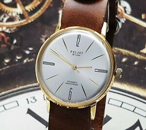 Poljot De Luxe Dress 1MChZ ULTRA SLIM Silver Dial Mechanical Watch Vintage Style