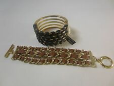 Banana Republic Luxe Leather Gold Link Toggle BracletTan & Black Cuff SET OF 2