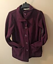Purple L.L. Bean M Peacoat Boiled Wool Winter Jacket Womens Stand-Up Collar