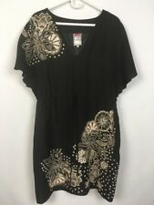 Yoana Baraschi Womens V-neck Black Short Sleeves Tunic Dress Size 12 B0021