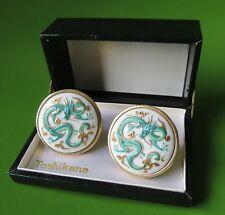 "Vintage Toshikane Dragon Motif Cuff Links with box 1 1/4"" Large cufflinks"