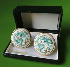 "Vintage Toshikane Dragon Motif Cuff Links with box 1 1/4"" Large cufflinks"