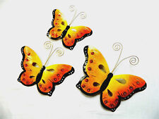 Butterfly Wall Art Ornament - Metal Butterflies Wall Hanging - Orange - Set of 3