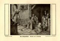 Stelzenläufer Kunstdruck 1910 von Hermann Kaulbach München Kinder Stelzen