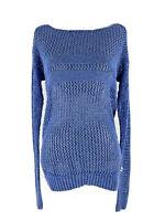 American Eagle Women's Cotton Blue Open Knit Long Sleeve Pullover Sweater XS
