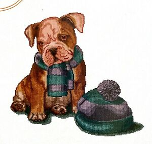 """Thea Gouverneur """"It's Cold Outside"""" Puppy Counted Cross Stitch Kit"""