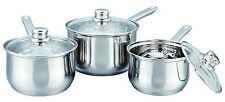 Lot de 3 Professional Deep Induction Casseroles/ustensiles de cuisine/Pan Set avec couvercle en verre