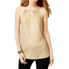 INC International Concepts Womens Gold Halter Blouse Top M