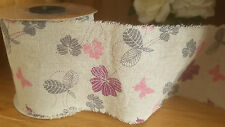Floral & Butterfly burlap ribbon 100mm x 10m full roll  - reduced to clear