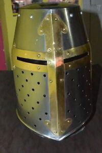 Medieval Knight Armor Crusader New Templar Helmet Helm Mason's Brass Cross