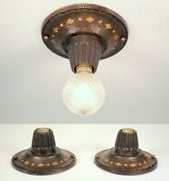 PAIR Vintage Art Craft Deco Bare Bulb Bronze Flush Ceiling Light Fixture REWIRED
