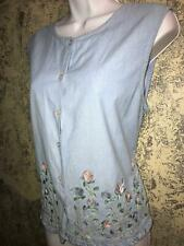 TANTRUMS sleeveless button down blouse PL embroidered floral boarder ruffled hem