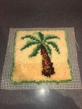 "Latch Hook Palm Tree La Palma Design Rug 12"" x 12"" Completed b13-"