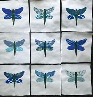 9 Fabric Quilt Top Craft Blocks 6 Inch Square Dragonfly Appliques Blue