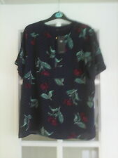 Marks and Spencer Navy Blue Spotty Red Flower Print Blouse Top Sz 12 Key Hole