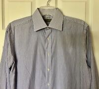 Canali Mens Size 16 41 Large Classic Striped Cotton Dress Shirt Reg $295