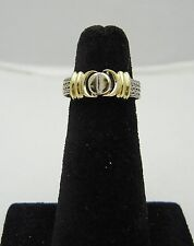 14K  Mesh Ring w/ White and Yellow Gold w/Belt Buckle  size 6.25 235-G