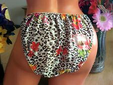 STUNNING Floral Animal Print 8/XL SILK SATIN String Bikini Brief Panties NEW