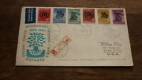 OLD INDONESIA STAMP ISSUE FDC, 1960 REFUGEE SET OF 6 STAMPS, REGISTERED BANDUNG