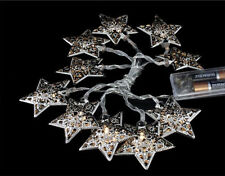 Battery Operated Silver Metal Star String Lights - 10 Warm White LED